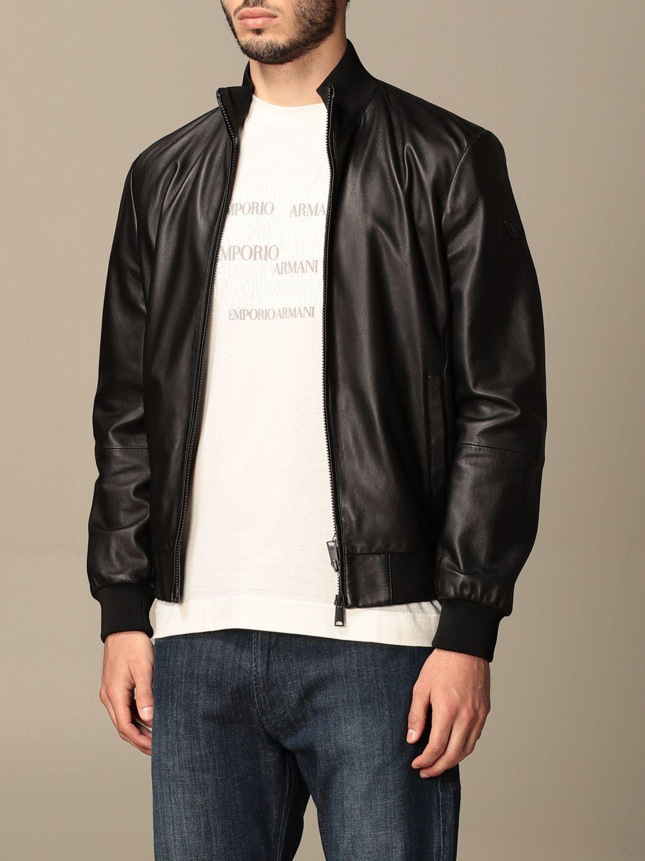 Jacket Emporio Armani: Emporio Armani leather bomber jacket black 4