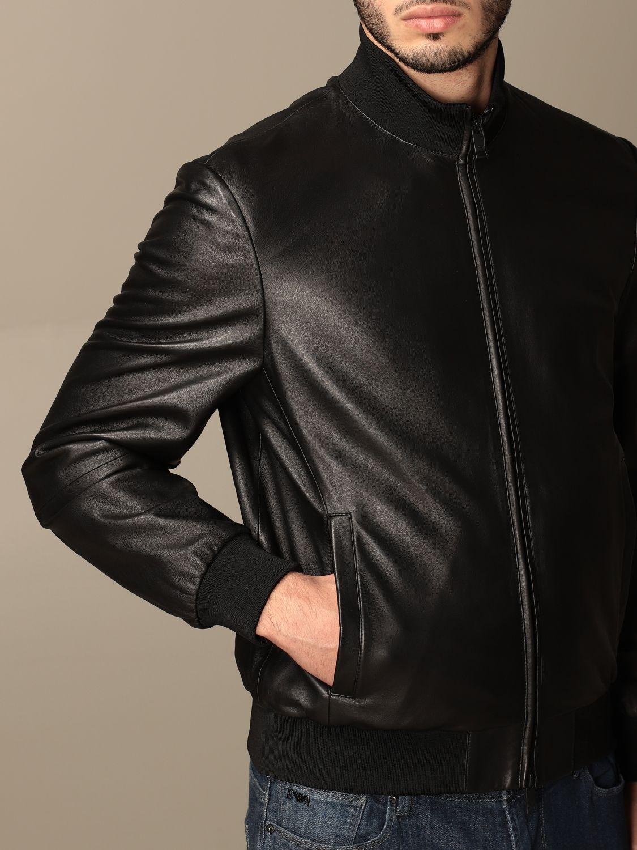 Jacket Emporio Armani: Emporio Armani leather bomber jacket black 5