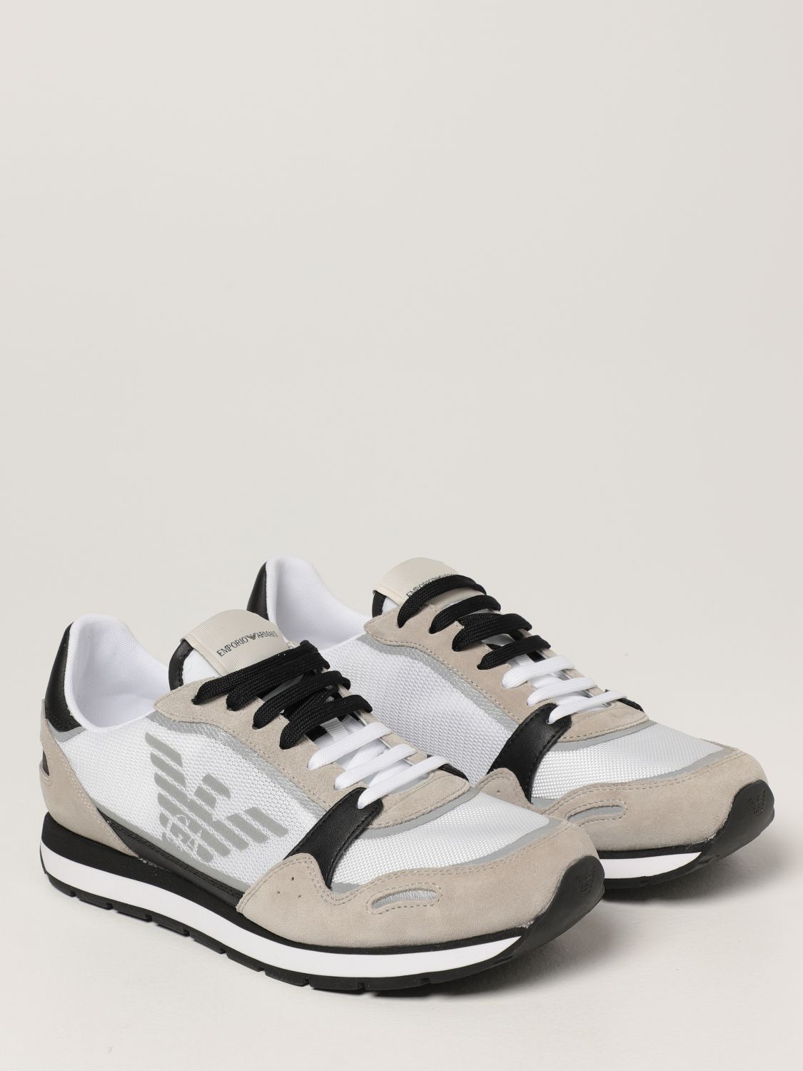 Sneakers Emporio Armani: Emporio Armani sneakers in mesh and suede white 2