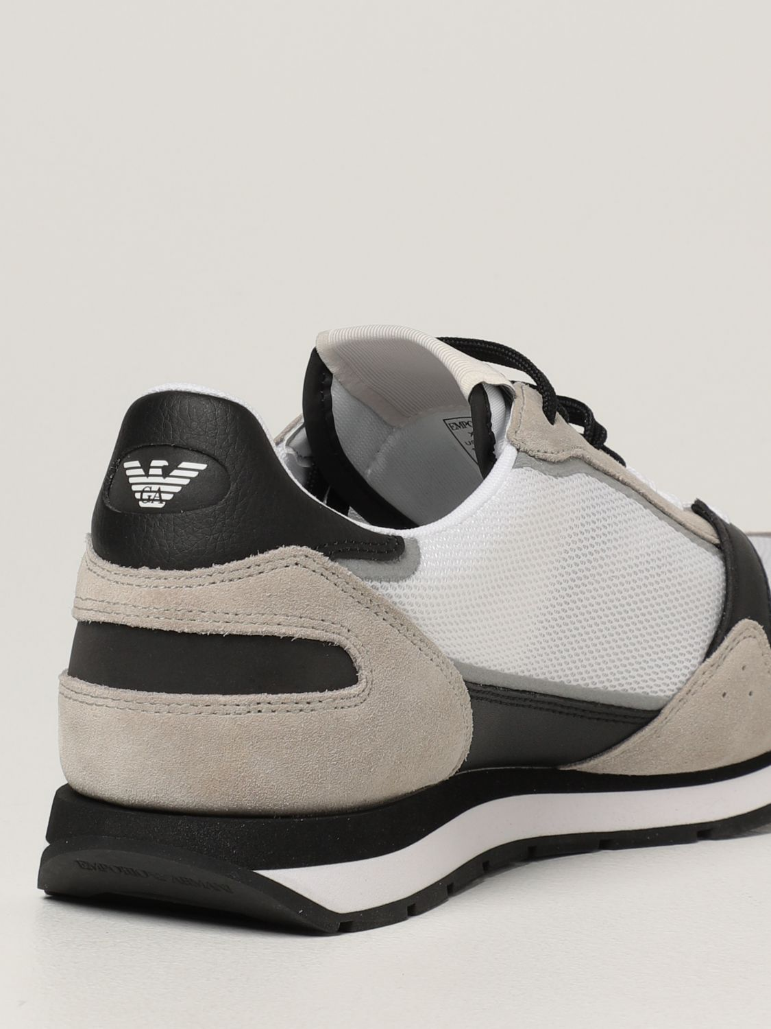 Sneakers Emporio Armani: Emporio Armani sneakers in mesh and suede white 3