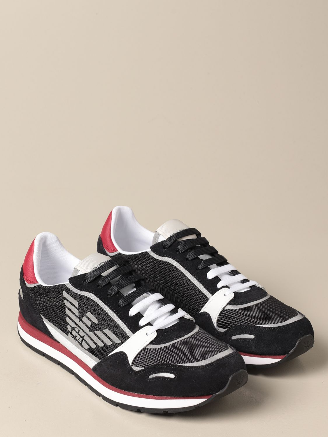 Sneakers Emporio Armani: Emporio Armani sneakers in mesh and suede black 1 2