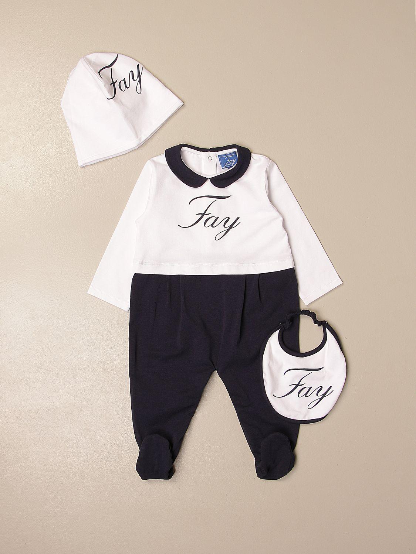 Combinato Fay: Set tutina + cappellino + bavaglino Fay in cotone blue 1