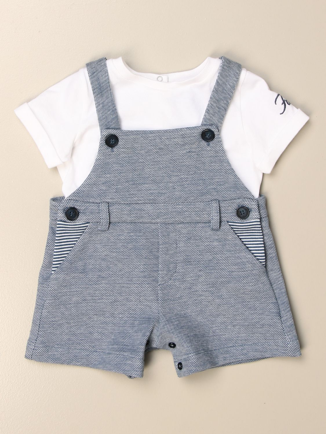 Tracksuit Fay: Fay short cotton romper with t-shirt and dungarees blue 1