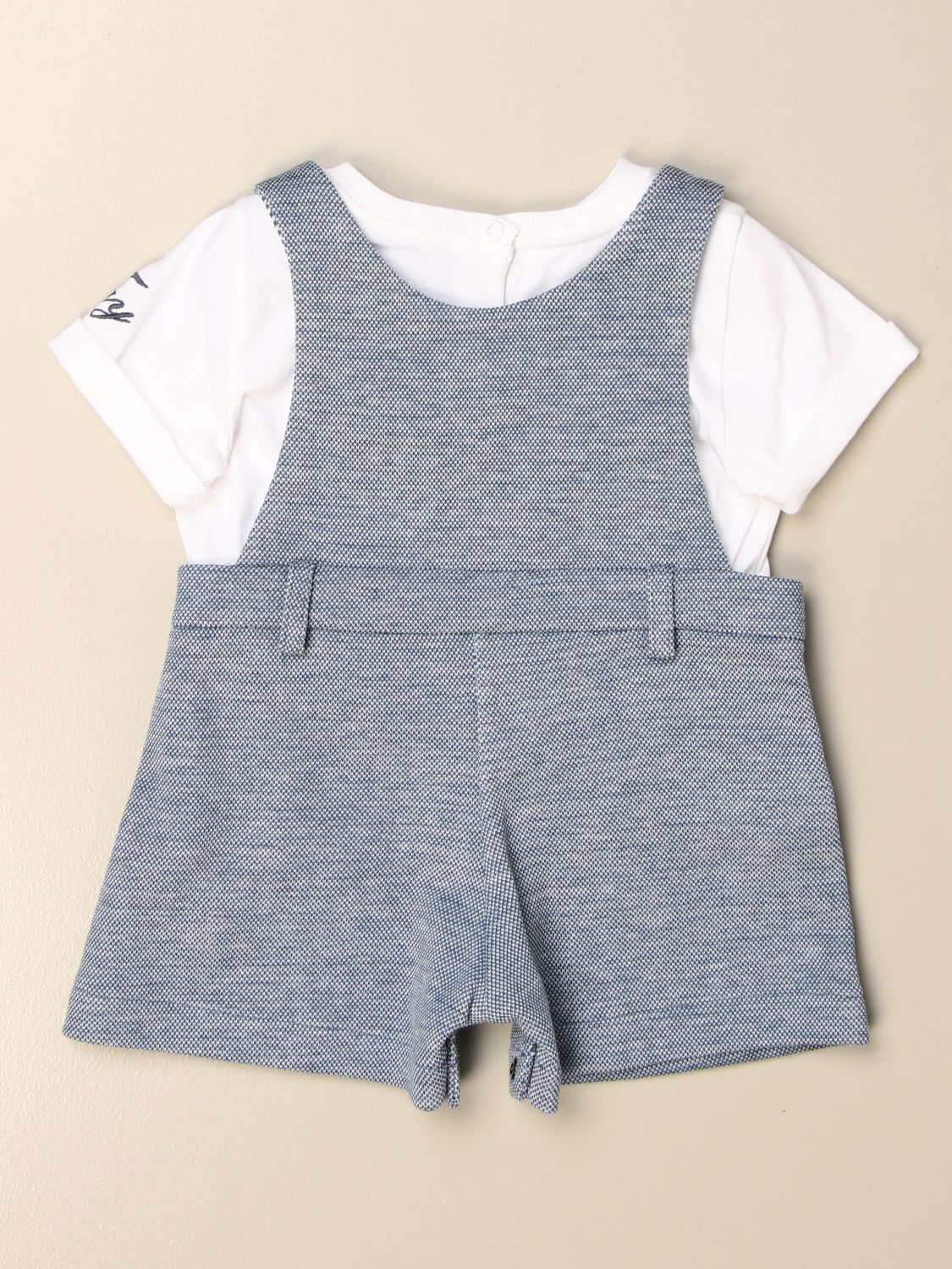 Tracksuit Fay: Fay short cotton romper with t-shirt and dungarees blue 2