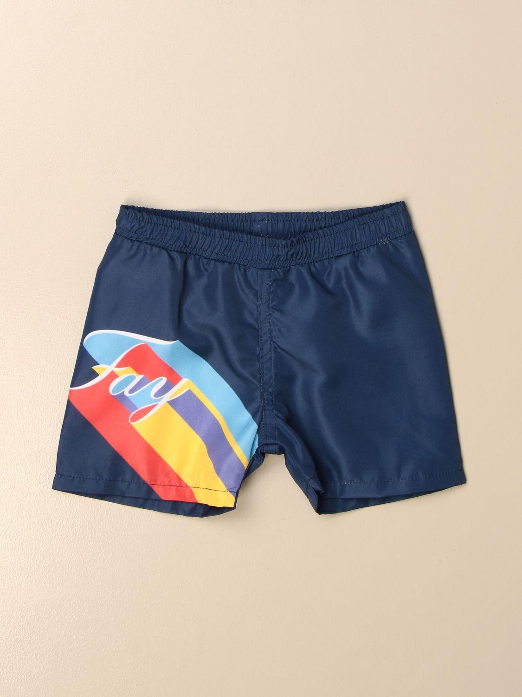 Costume Fay: Costume a boxer Fay in nylon con logo a righe colorate blue 1