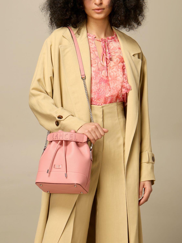 Shoulder bag Lancel: Lancel bucket bag in hammered leather pink 2