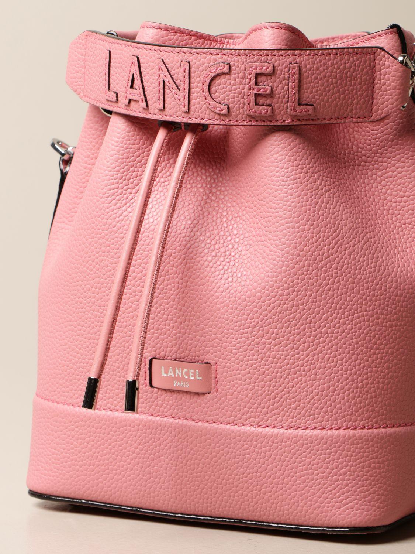 Shoulder bag Lancel: Lancel bucket bag in hammered leather pink 4