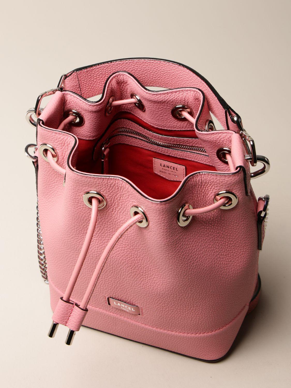 Shoulder bag Lancel: Lancel bucket bag in hammered leather pink 5