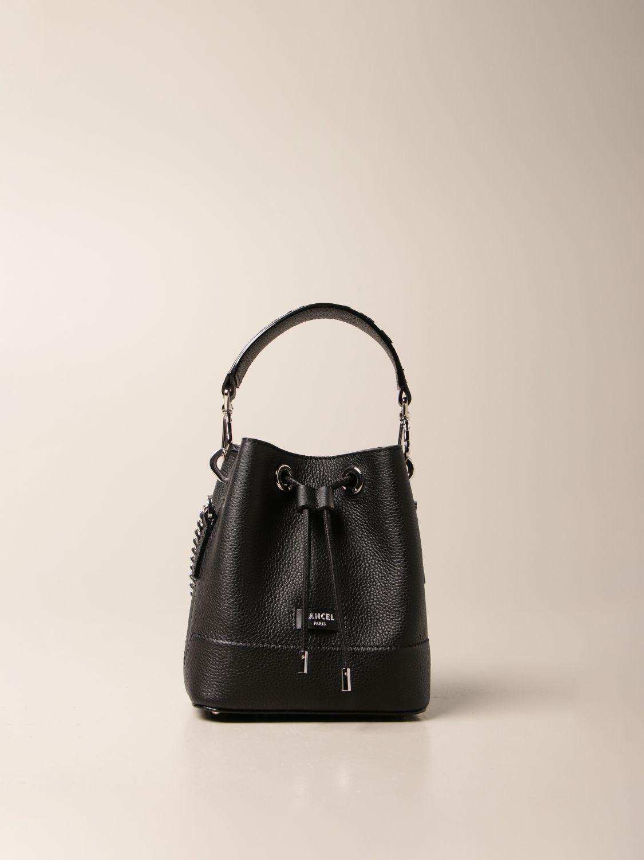 Mini bag Lancel: Lancel bucket bag in hammered leather black 1