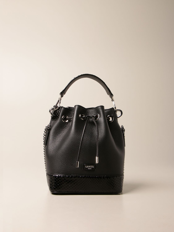 Handbag Lancel: Lancel bucket bag in hammered leather and python leather black 1
