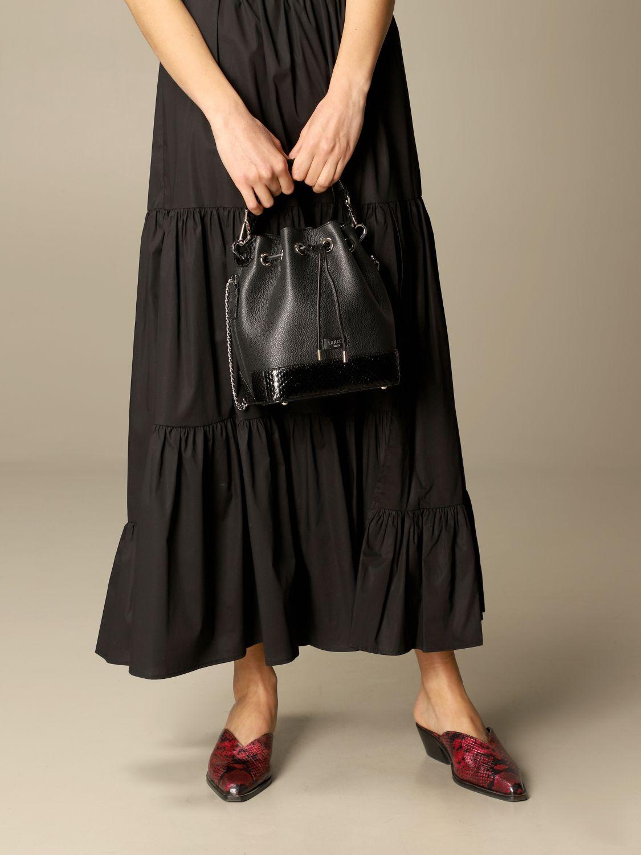 Handbag Lancel: Lancel bucket bag in hammered leather and python leather black 2