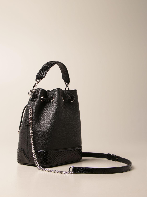Handbag Lancel: Lancel bucket bag in hammered leather and python leather black 3