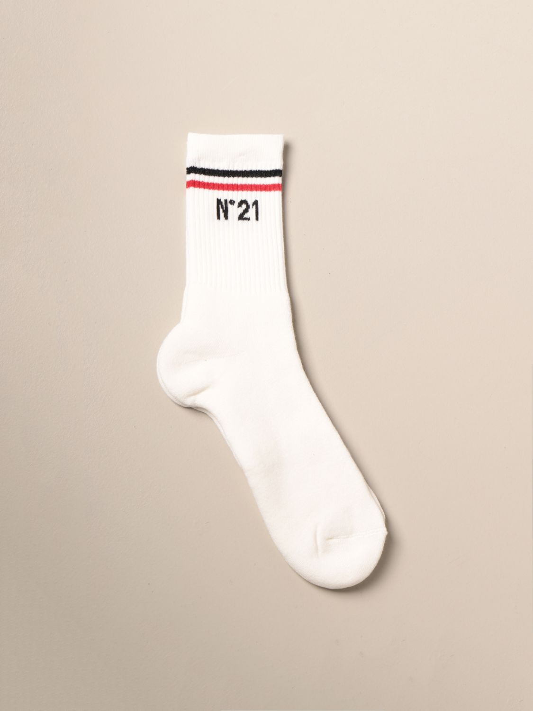 Socks N° 21: N ° 21 ribbed terry socks with logo white 1