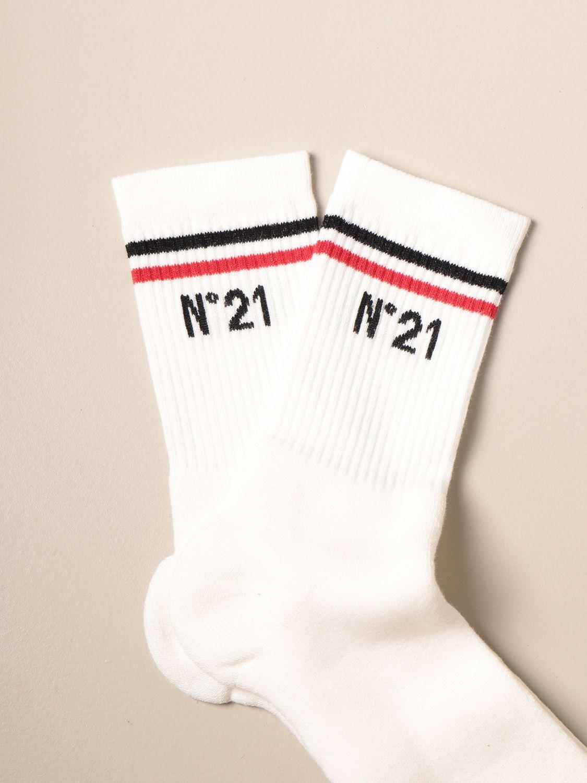 Socks N° 21: N ° 21 ribbed terry socks with logo white 2