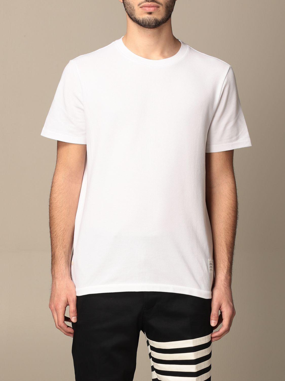 T-shirt Thom Browne: T-shirt Thom Browne in cotone con dettaglio a righe bianco 1