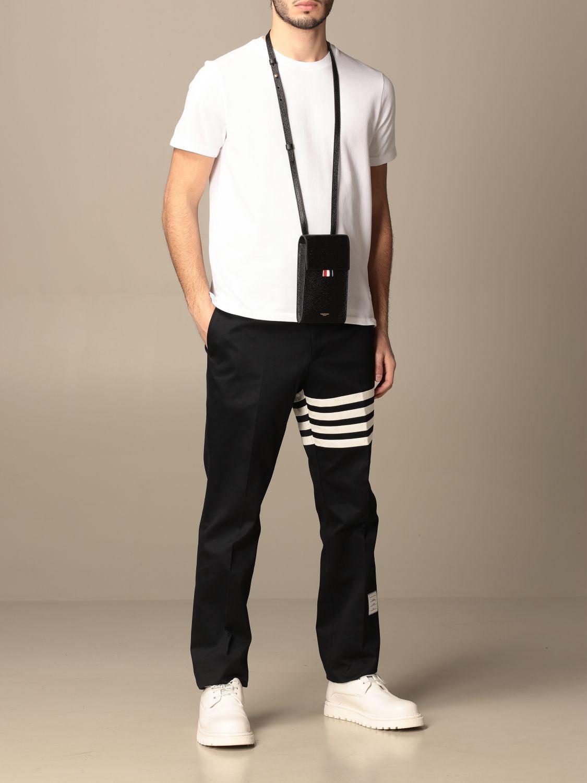 T-shirt Thom Browne: T-shirt Thom Browne in cotone con dettaglio a righe bianco 2