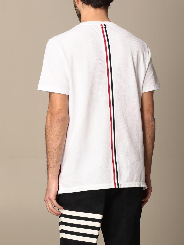 T-shirt Thom Browne: T-shirt Thom Browne in cotone con dettaglio a righe bianco 3