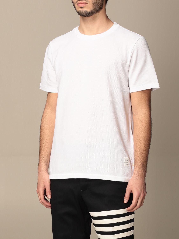 T-shirt Thom Browne: T-shirt Thom Browne in cotone con dettaglio a righe bianco 4