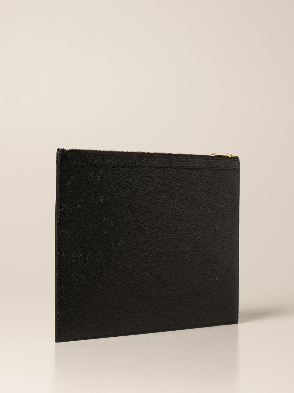 Portadocumenti Thom Browne: Pochette Thom Browne in pelle a grana nero 3