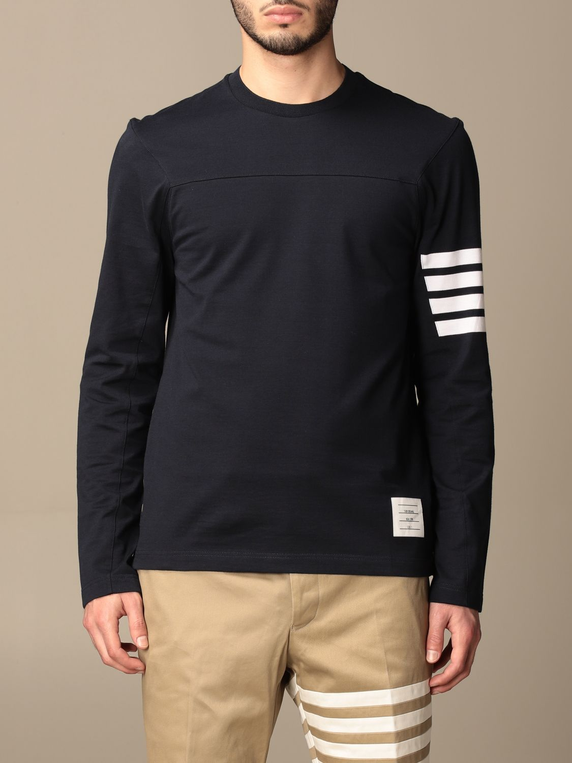 T-shirt Thom Browne: T-shirt Thom Browne in cotone con dettaglio a righe blue navy 1