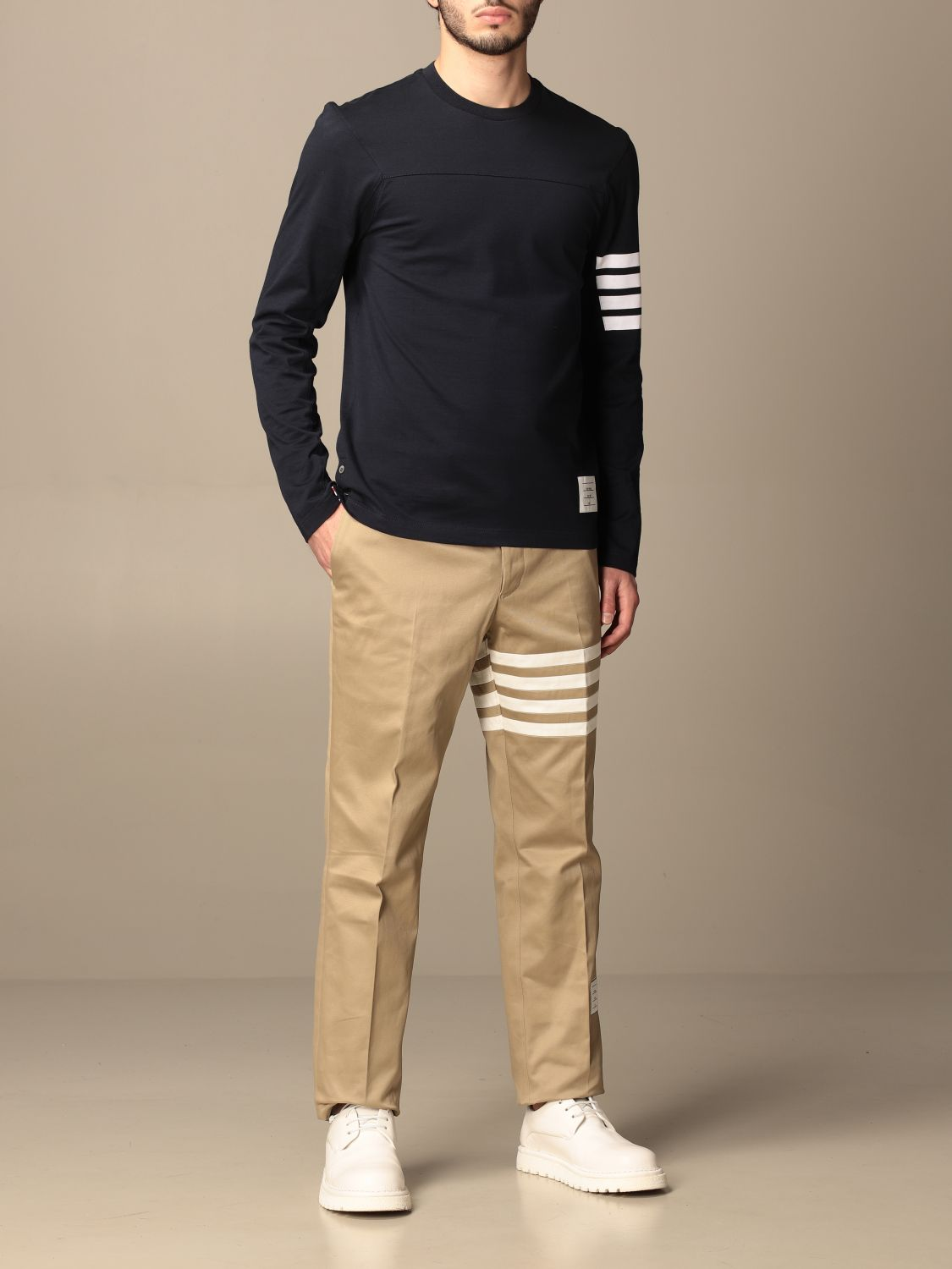 T-shirt Thom Browne: T-shirt Thom Browne in cotone con dettaglio a righe blue navy 2