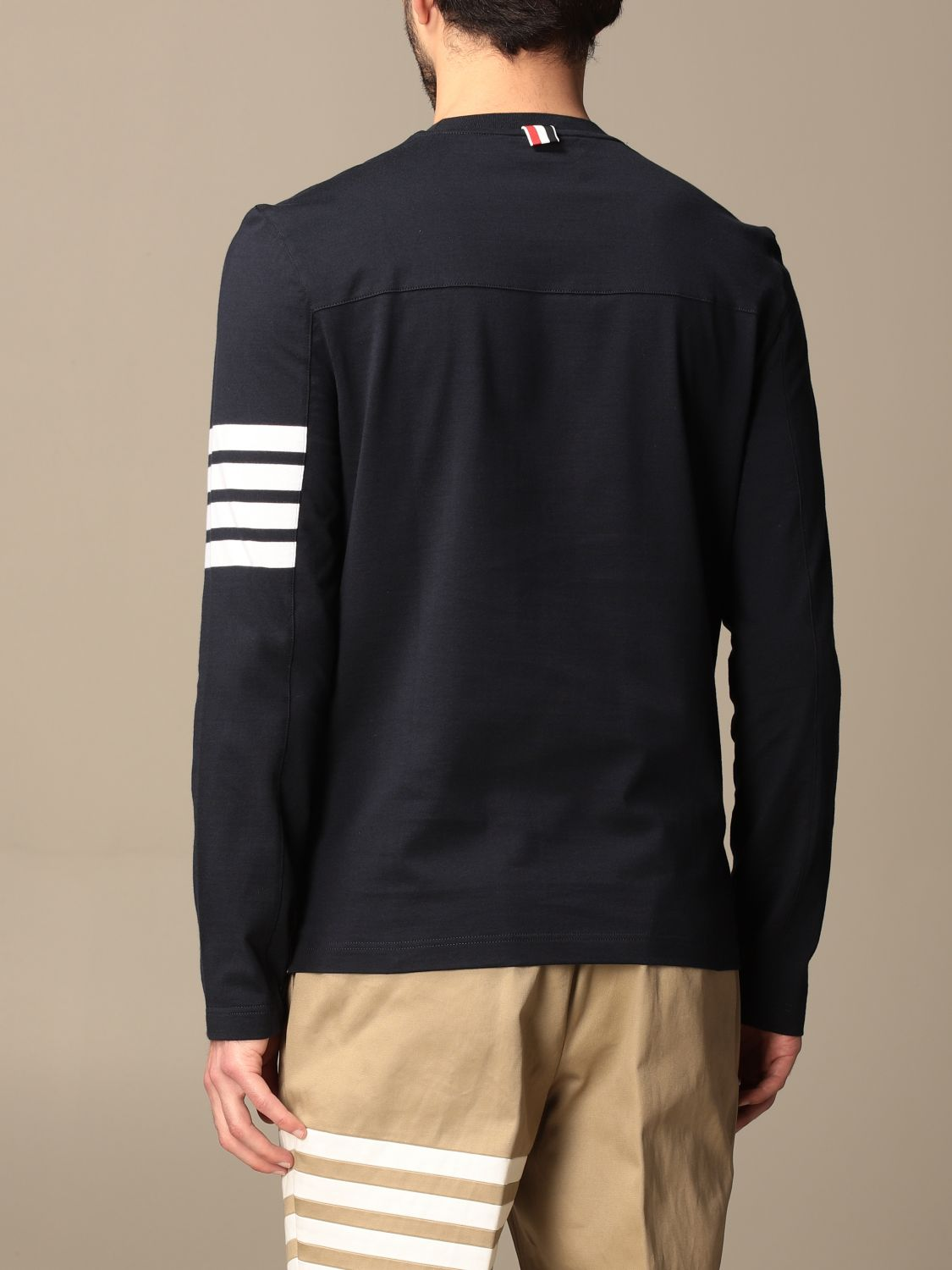 T-shirt Thom Browne: T-shirt Thom Browne in cotone con dettaglio a righe blue navy 3