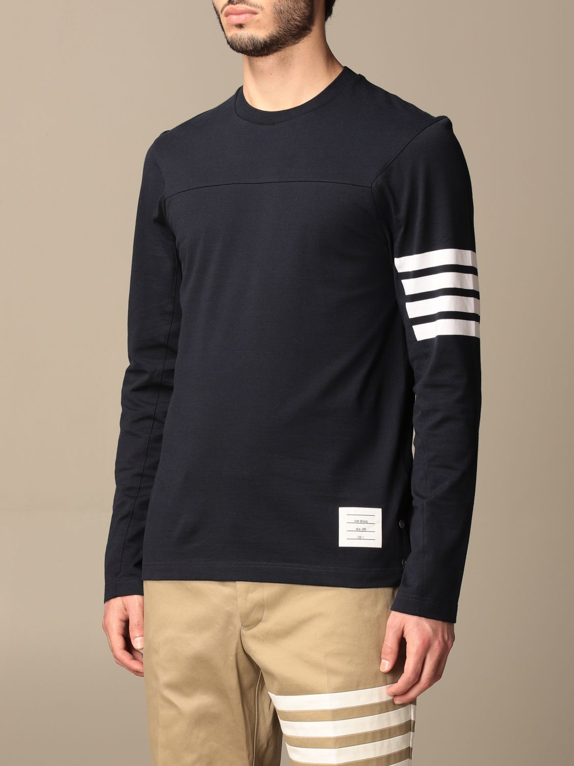 T-shirt Thom Browne: T-shirt Thom Browne in cotone con dettaglio a righe blue navy 4