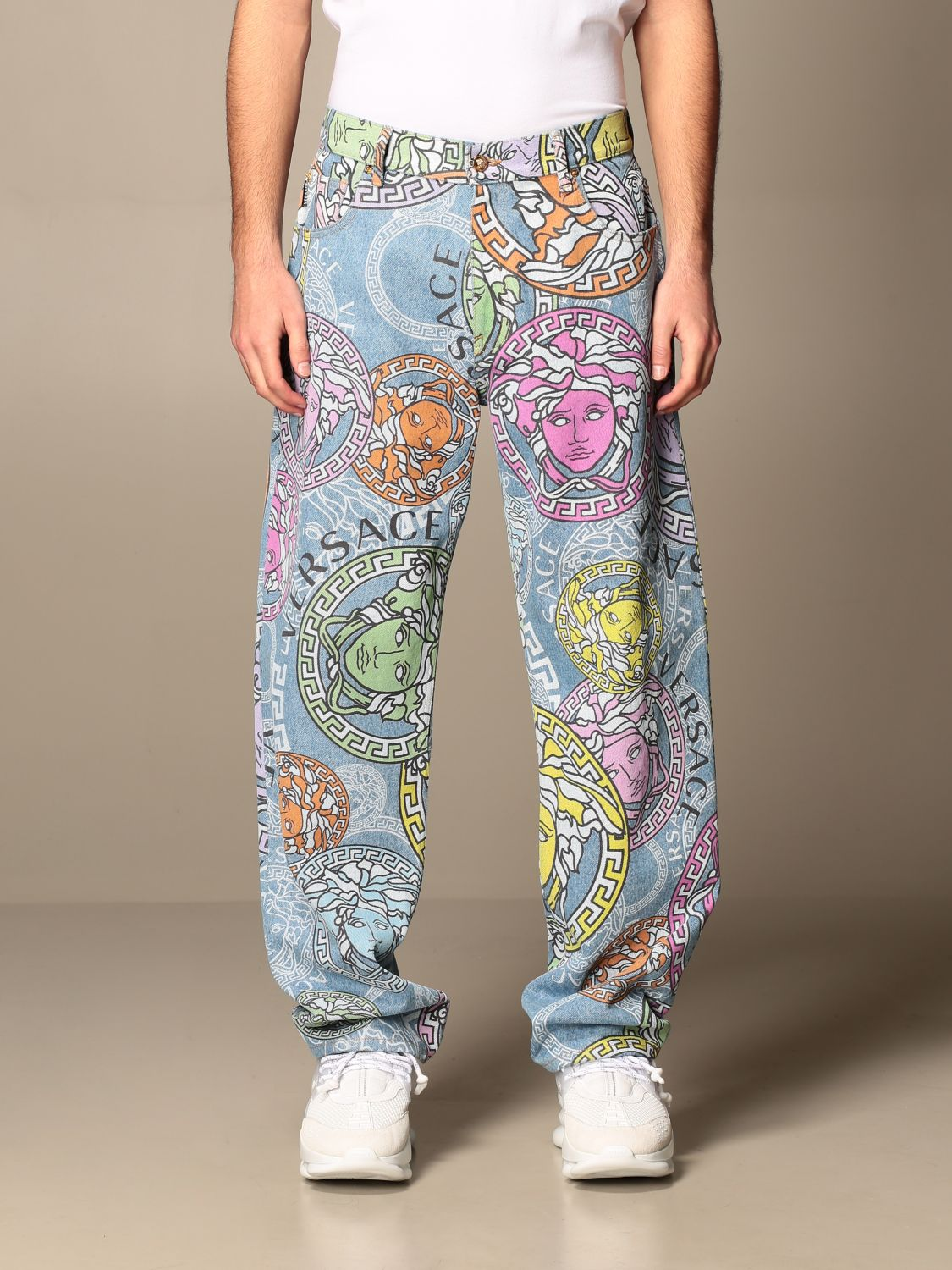 Trousers Versace: Versace 5-pocket jeans with all-over multicolor medusa head pattern multicolor 1