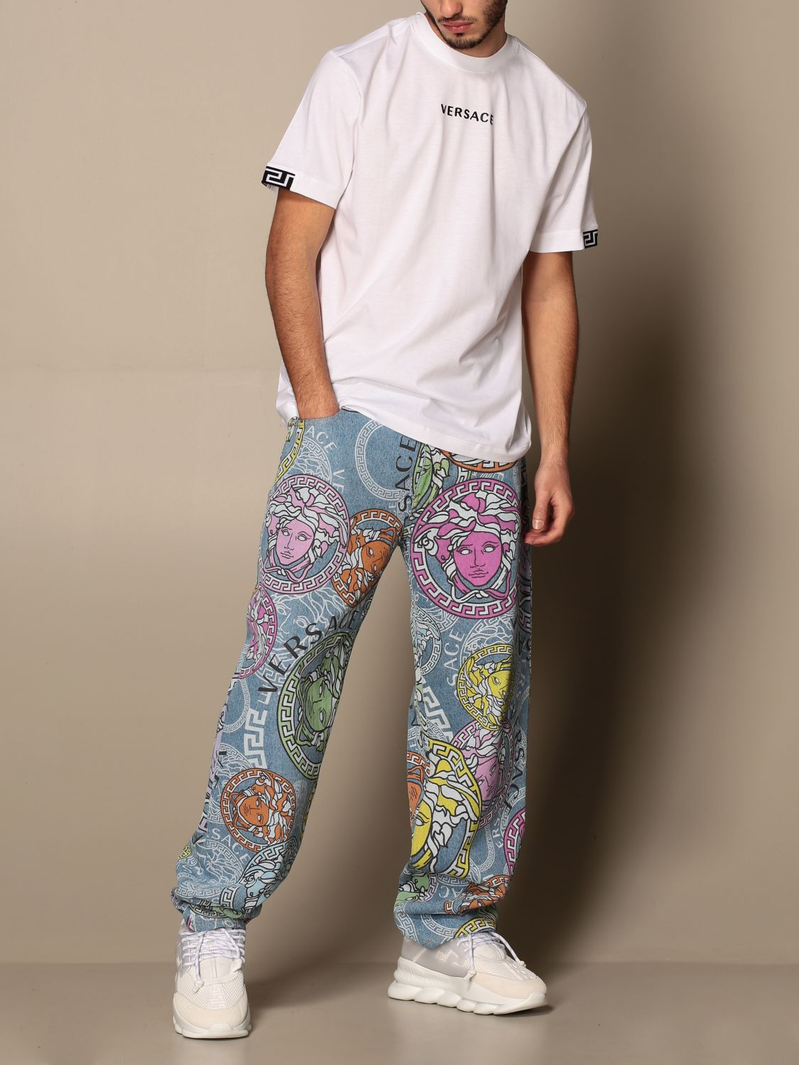 Trousers Versace: Versace 5-pocket jeans with all-over multicolor medusa head pattern multicolor 2