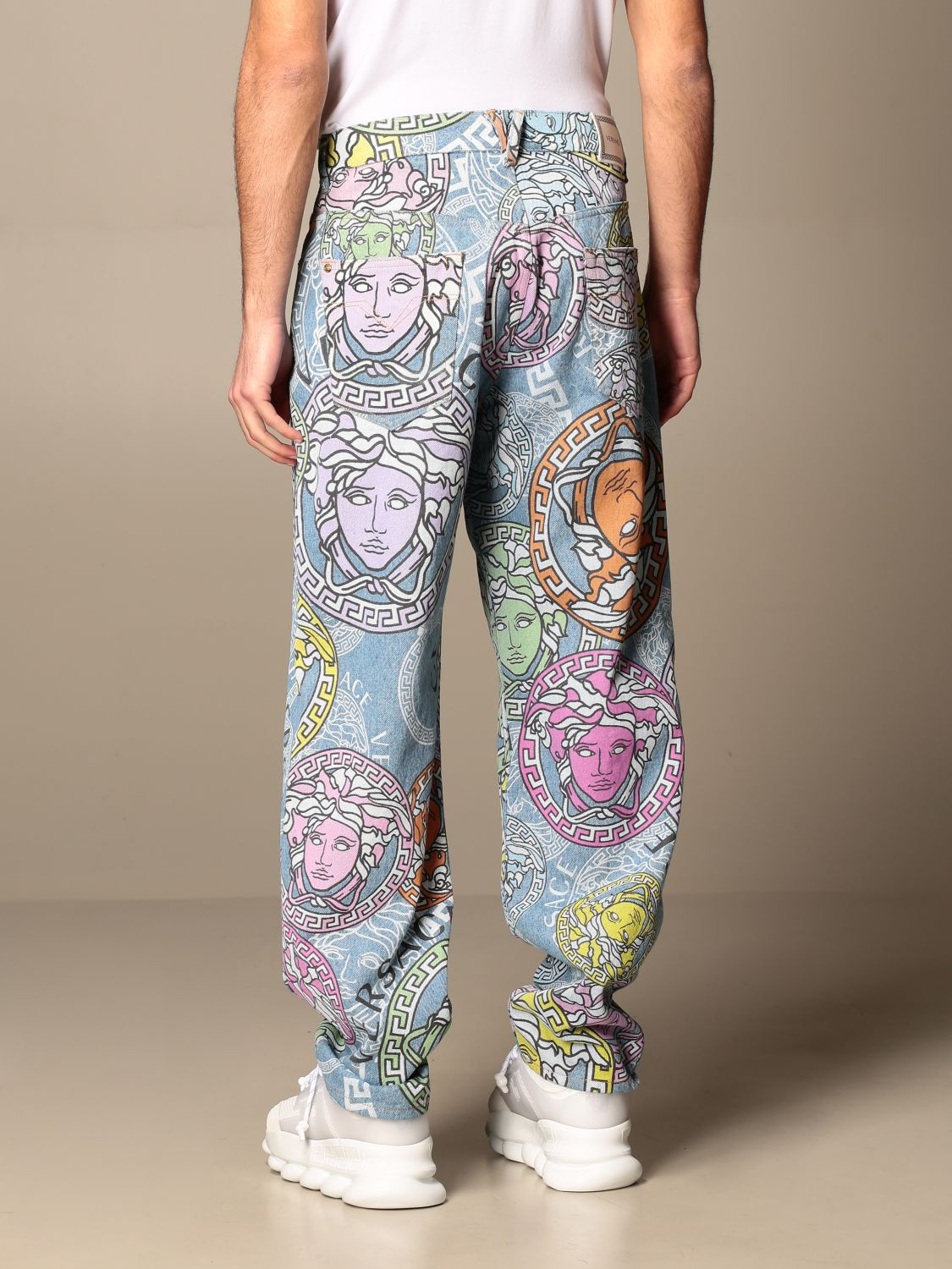 Trousers Versace: Versace 5-pocket jeans with all-over multicolor medusa head pattern multicolor 3