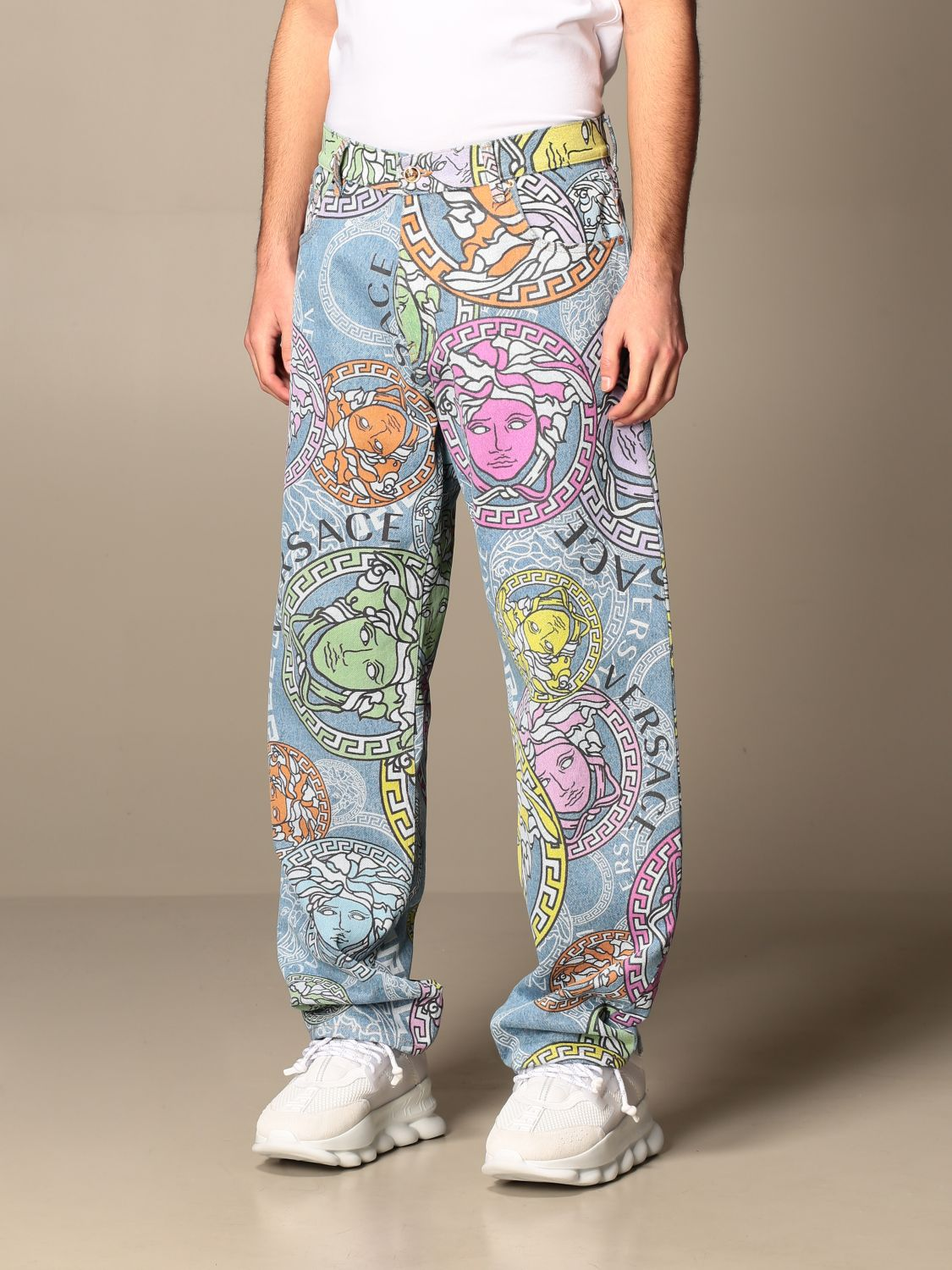 Trousers Versace: Versace 5-pocket jeans with all-over multicolor medusa head pattern multicolor 4