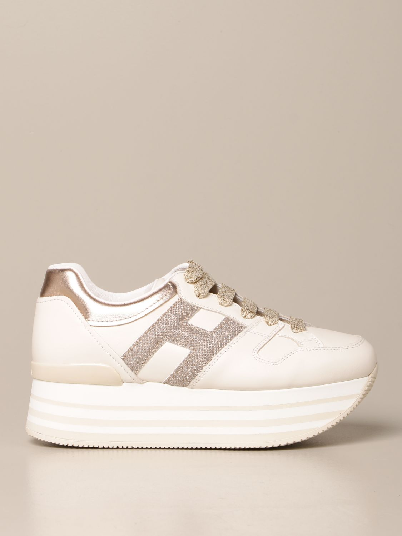 HOGAN: Maxi platform H283 sneakers in leather   Sneakers Hogan ...