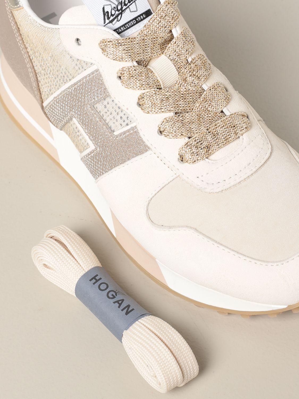 Sneakers H383 running Hogan in pelle e tessuto lurex