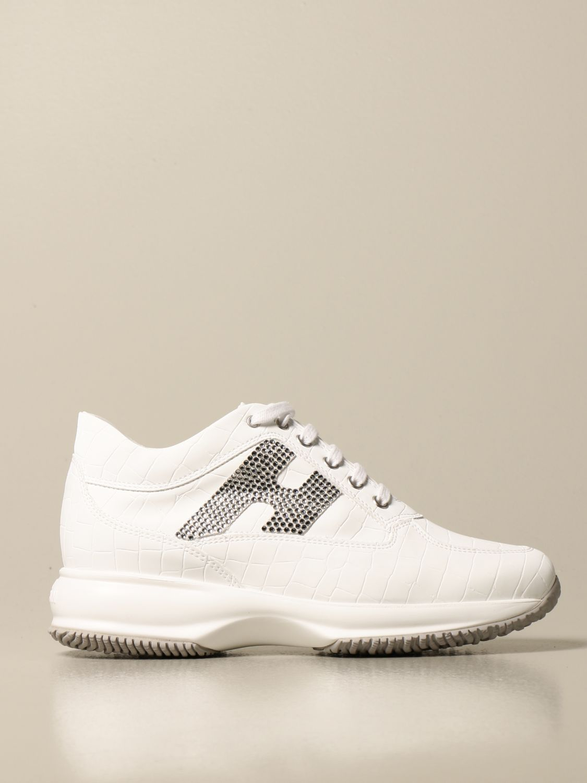 Interactive Hogan sneakers in crocodile print leather with rhinestone H