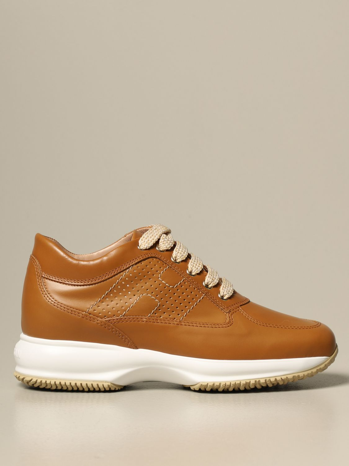 Interactive Hogan sneakers in pearled leather with perforated H