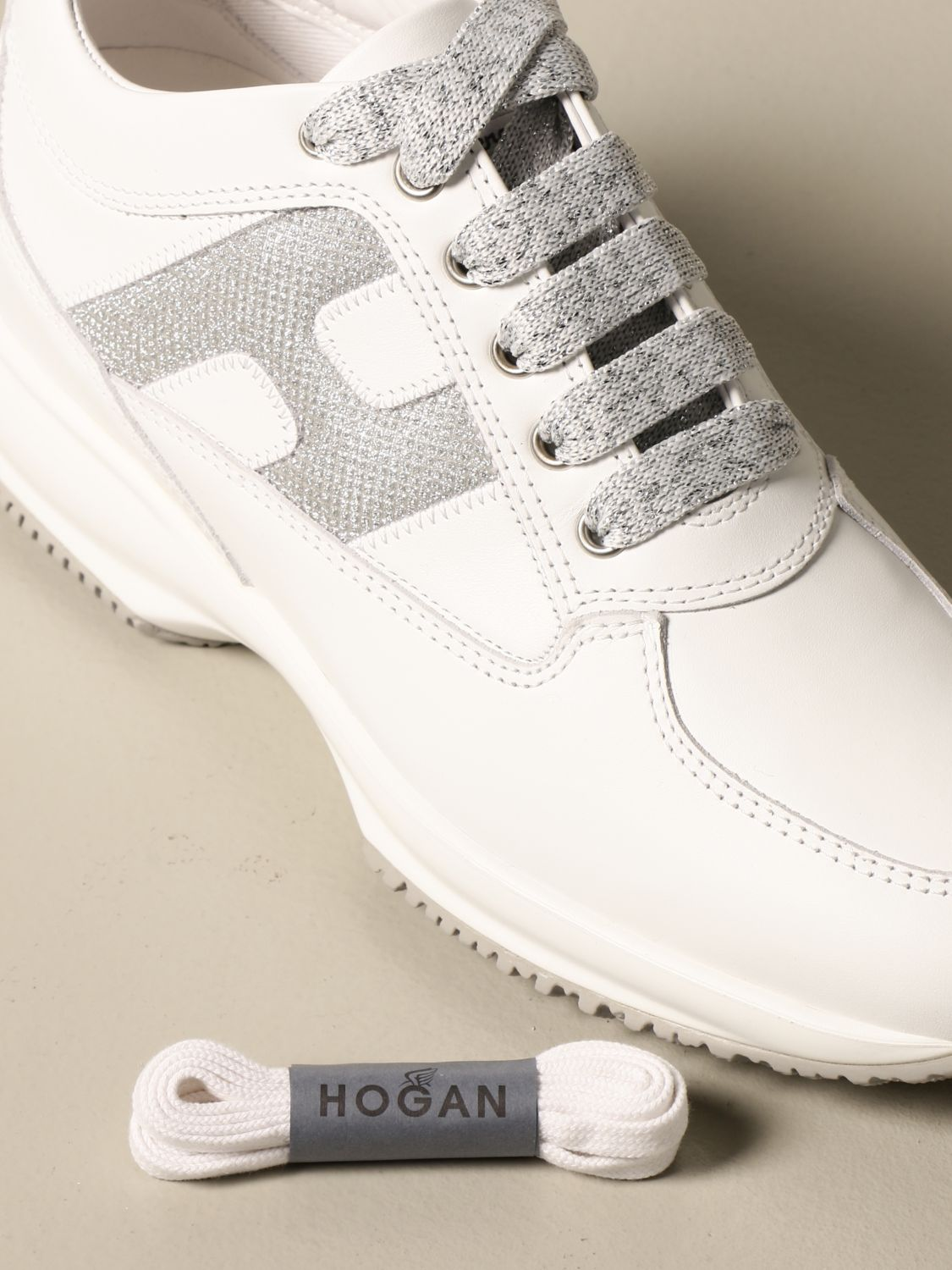 Interactive Hogan sneakers in leather with glitter H