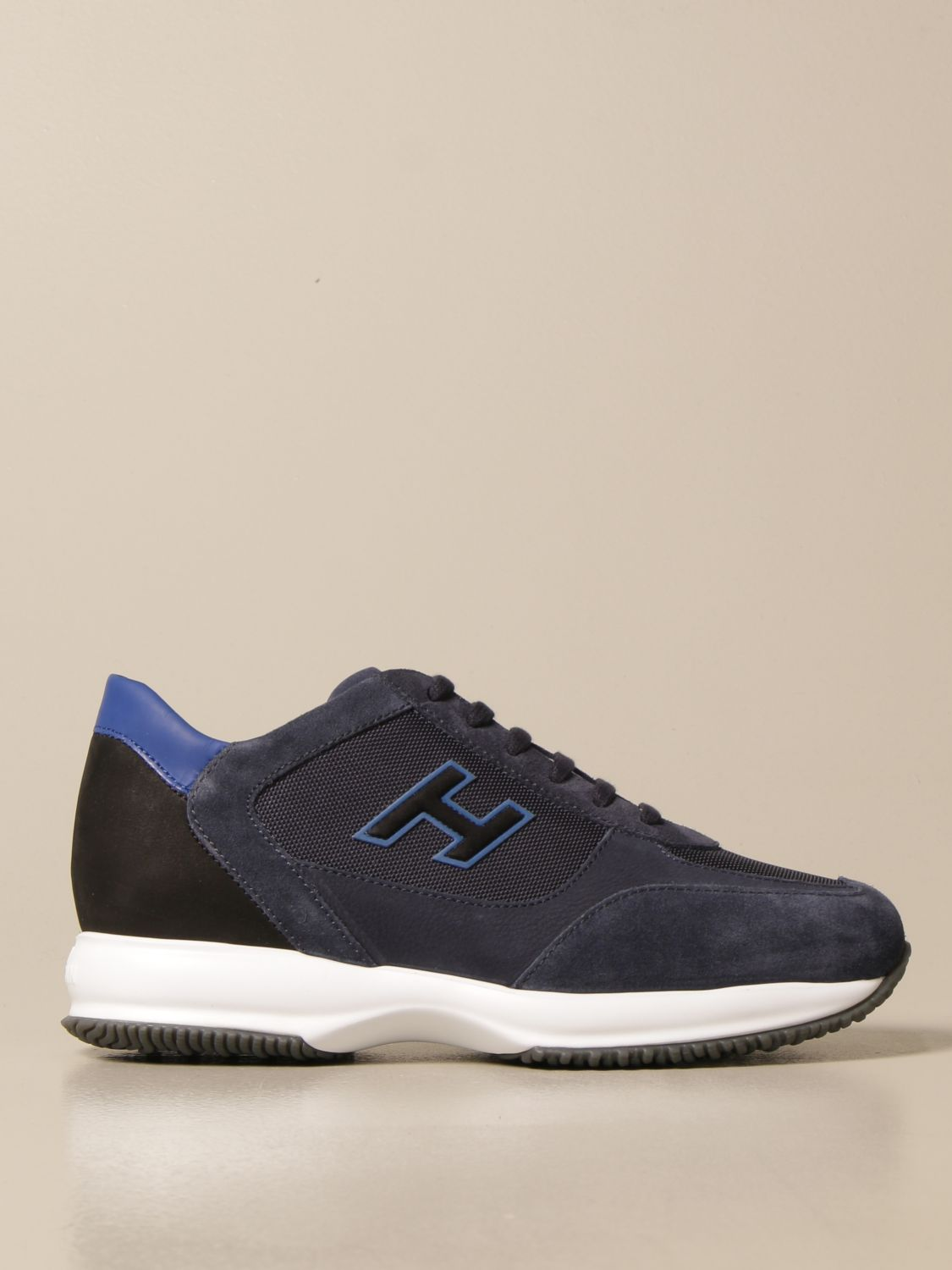 Interactive Hogan sneakers in suede and net with H flock
