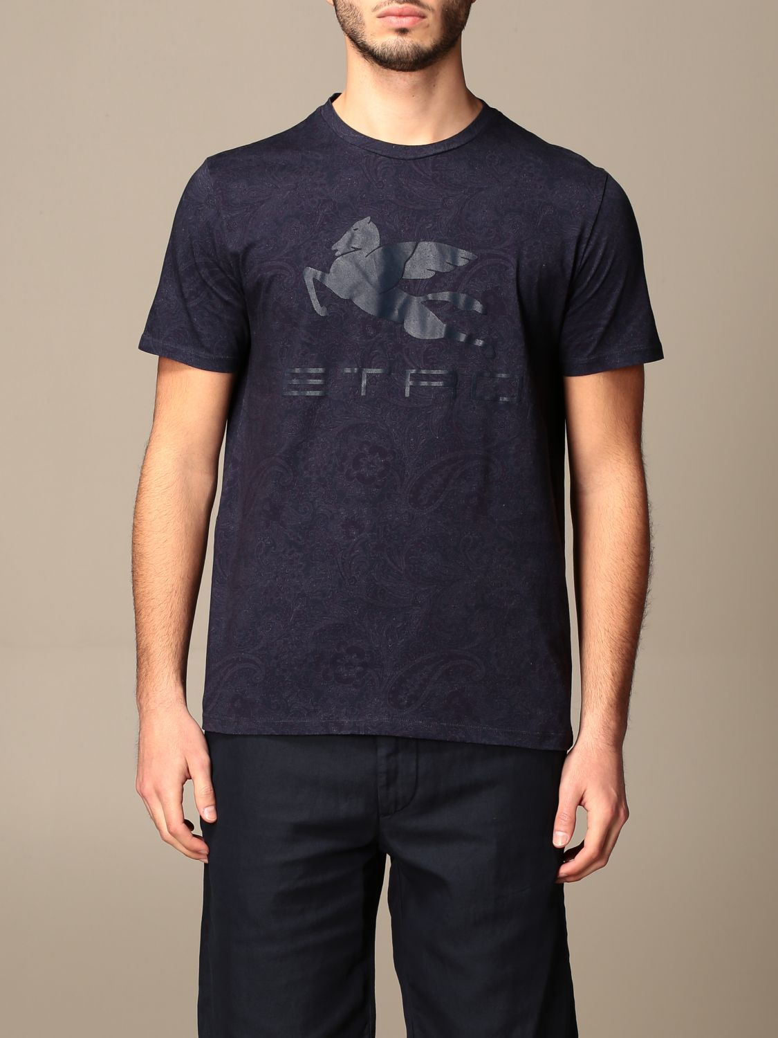 T-shirt Etro: Etro t-shirt in paisley patterned cotton with Pegasus gnawed blue 1