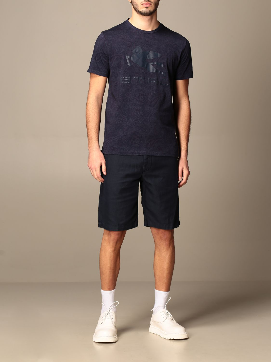 T-shirt Etro: Etro t-shirt in paisley patterned cotton with Pegasus gnawed blue 2