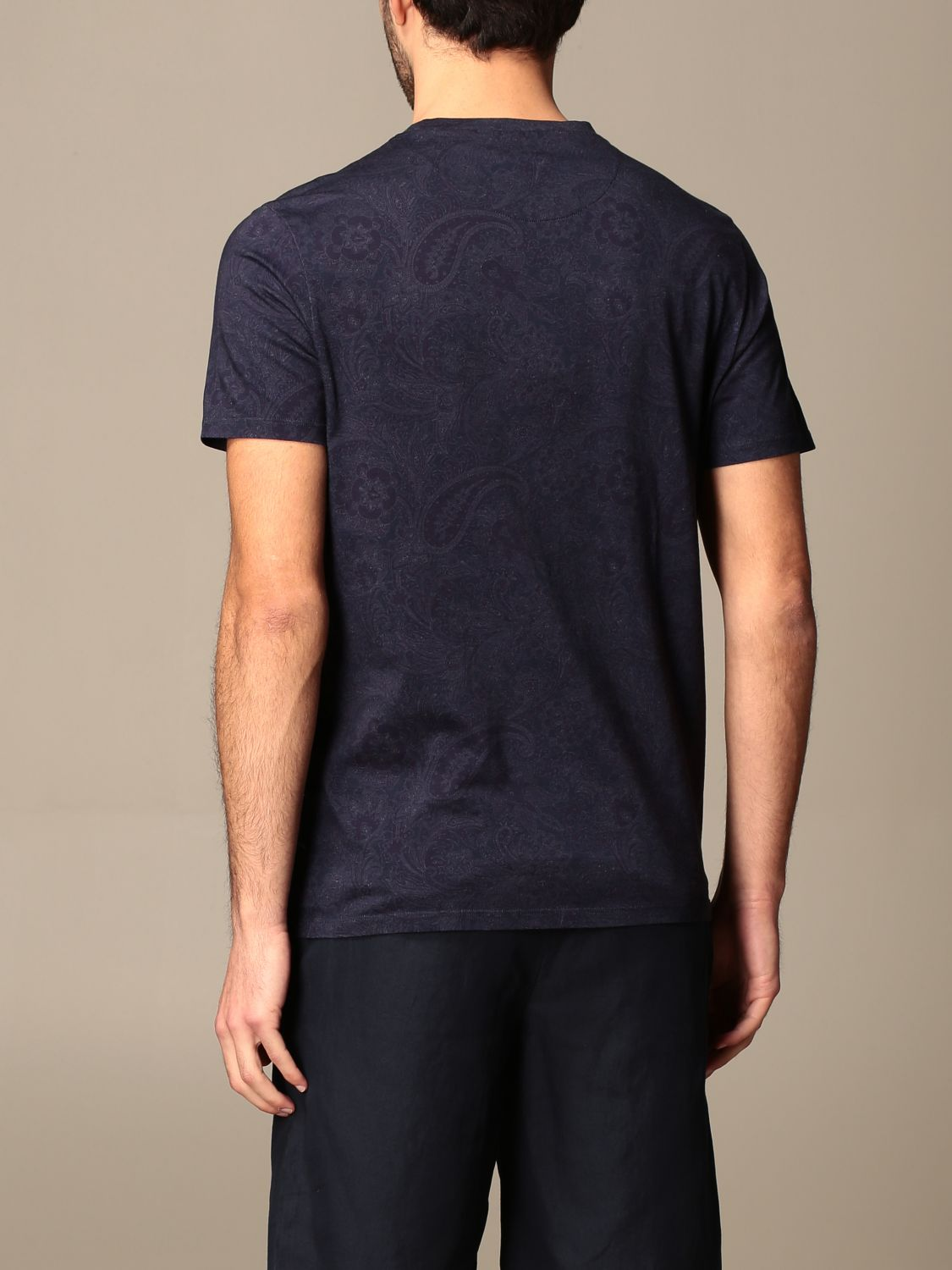 T-shirt Etro: Etro t-shirt in paisley patterned cotton with Pegasus gnawed blue 3