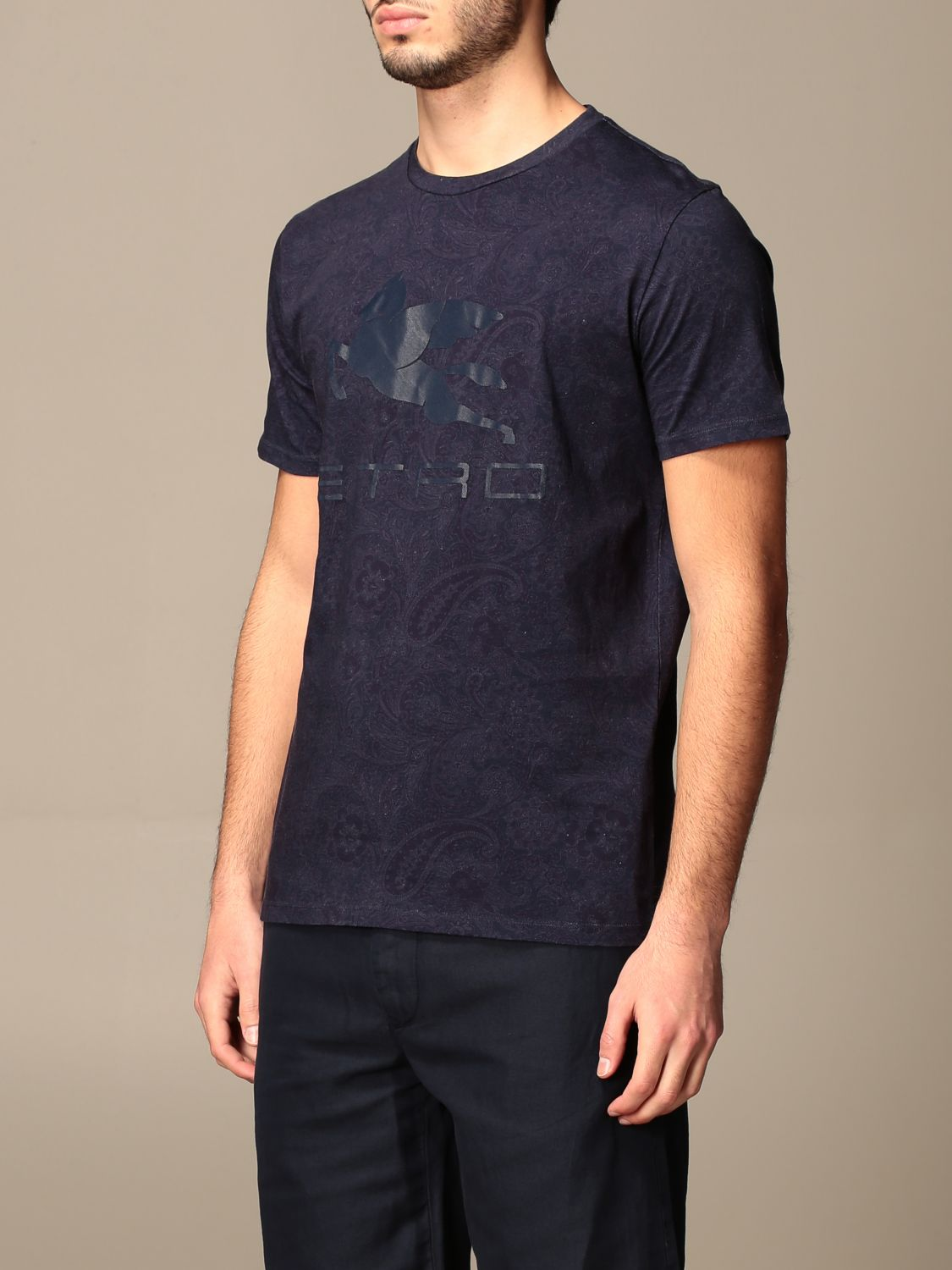 T-shirt Etro: Etro t-shirt in paisley patterned cotton with Pegasus gnawed blue 4