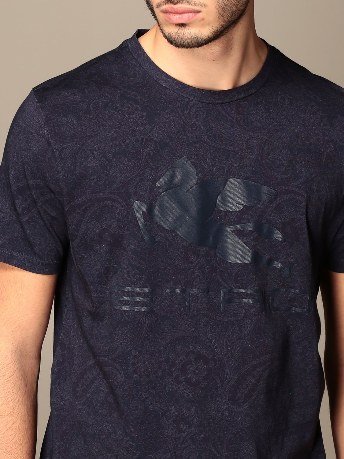 T-shirt Etro: Etro t-shirt in paisley patterned cotton with Pegasus gnawed blue 5