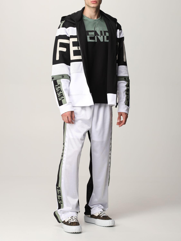 Trousers Fendi: Fendi bicolor jogging trousers with FF bands black 2