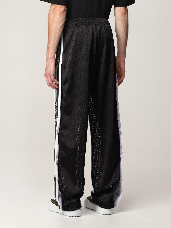 Trousers Fendi: Fendi bicolor jogging trousers with FF bands black 3