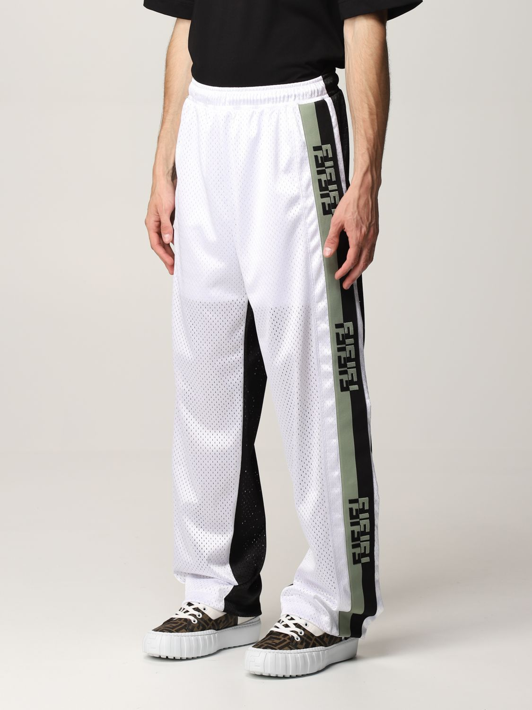 Trousers Fendi: Fendi bicolor jogging trousers with FF bands black 4