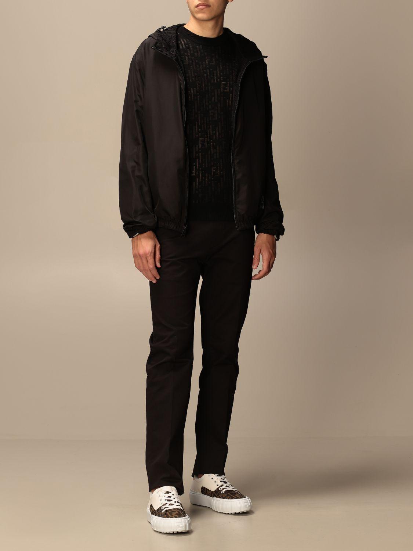 Giacca Fendi: Giacca di nylon Fendi con cappuccio e zip nero 2