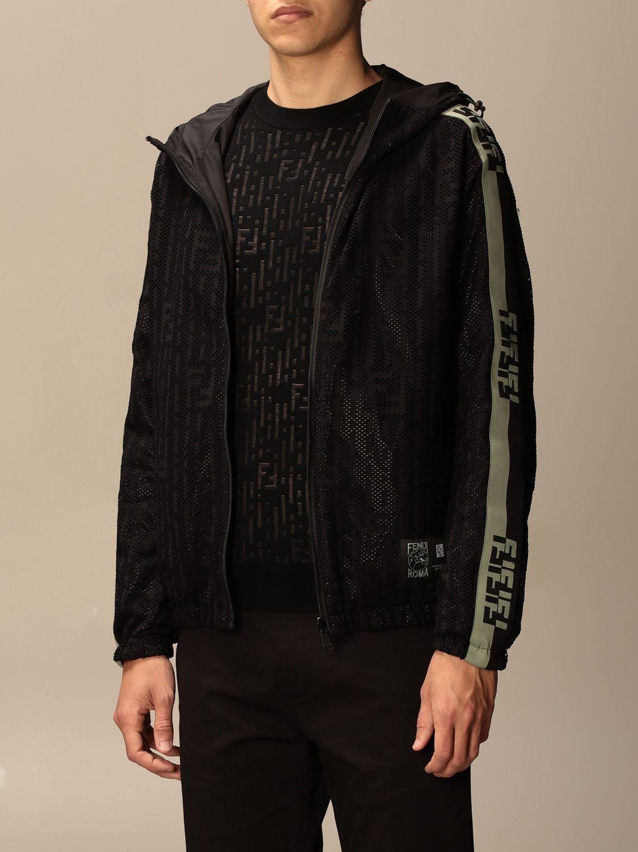 Giacca Fendi: Giacca di nylon Fendi con cappuccio e zip nero 4