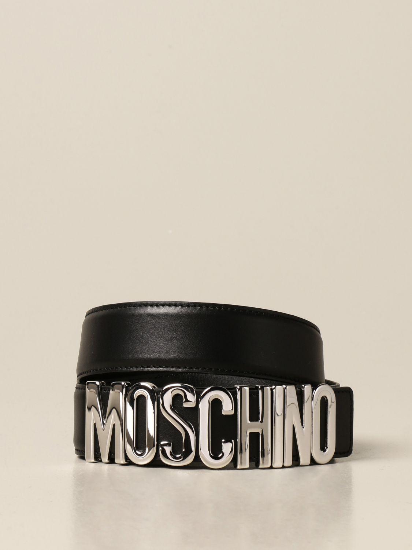 Cintura Moschino Couture: Cintura Moschino Couture in pelle con fibbia lettering nero 1 1
