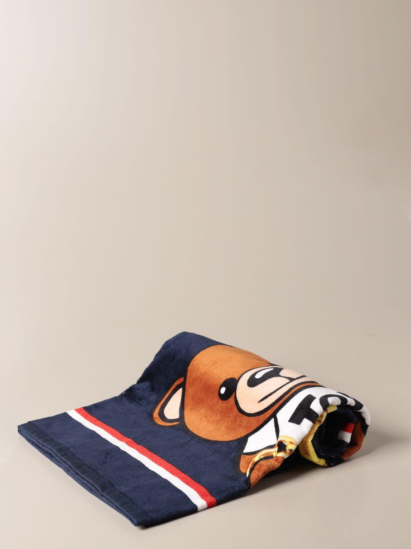 Beach towel girl Moschino Kid: Moschino Kid terry beach towel with Teddy flowers logo blue 1