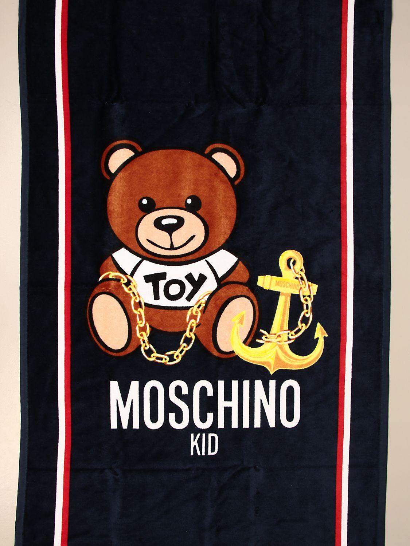 Beach towel girl Moschino Kid: Moschino Kid terry beach towel with Teddy flowers logo blue 3